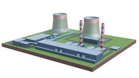 Industrial power plant building isolated 3d illustration Stock Photo
