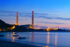 Industrial power plant night landscape Royalty Free Stock Photo