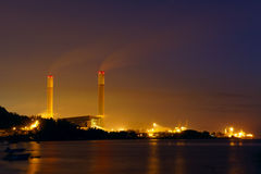 Industrial power plant night landscape Stock Images