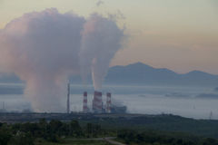 Industrial power plant with smokestack, Mea Moh, Lampang, Thailand. Stock Photos