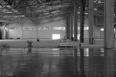 Industrial premises. In the construction process without people, in black and white Stock Photos