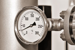 Industrial pressure gauge. Toned black and white Stock Photo