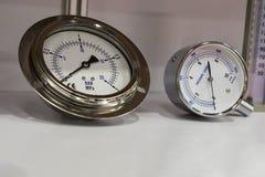 Pressure Gauges ; For air pressure checking. Industrial Pressure Gauges ; For air pressure checking Stock Photos