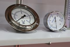 Pressure Gauges ; For air pressure checking. Industrial Pressure Gauges ; For air pressure checking Royalty Free Stock Image