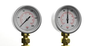 Industrial pressure gauges isolated on white background, front view. 3d illustration. Two industrial high pressure gas manometers isolated on white background Royalty Free Stock Photo