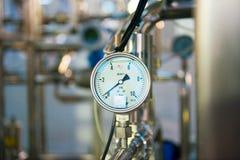 Industrial pressure meter stock image