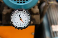 Pressure guage of air compressor royalty free stock photography