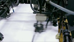 Industrial printing machine in process stock video footage
