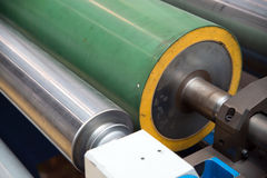 Industrial printshop: Flexo press printing. UV flexo press for printing packaging. Flexography (also called surface printing), often abbreviated to flexo, is a stock images