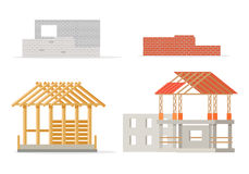 Industrial Process of Building New House. Stages Stock Photos