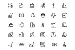 Industrial Processes Vector Line Icons 2 Royalty Free Stock Photography