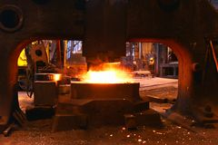 Industrial production of shafts for heavy industry. Forge shafts Stock Photography