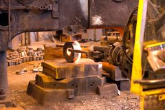 Industrial production of shafts for heavy industry. Forge shafts Royalty Free Stock Photography