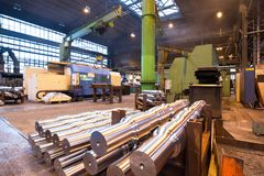 Industrial production of shafts for heavy industry. Inside building Stock Photos
