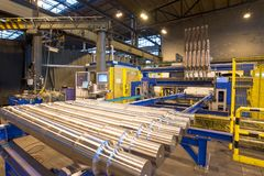 Industrial production of shafts for heavy industry. Storage shafts Royalty Free Stock Image