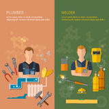 Industrial professions banners plumber and welder. Plumbing tools and welding tools vector illustration Stock Images