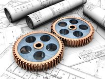 Industrial project. Of two gears over project Royalty Free Stock Photography