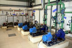 Industrial pumps, pipes and valves royalty free stock photos