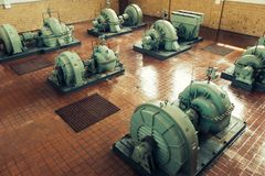 Industrial pumps in a water treatment plant royalty free stock images