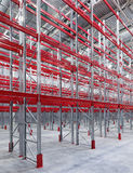 Industrial racks pallets. Shelves in huge empty warehouse interior.  Storage equipment Royalty Free Stock Images