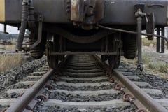 Industrial rail car wheels closeup photo ,train wheel. Stock Photo
