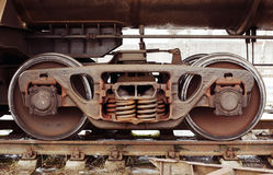 Industrial rail car wheels Royalty Free Stock Image