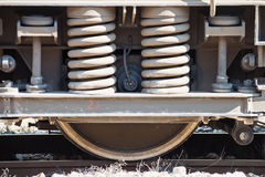 Industrial Rail Car Wheels. Old train wheel on a old track Royalty Free Stock Photo
