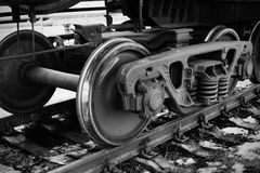Industrial rail car wheels Stock Photos