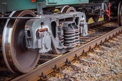 Industrial rail train wheels closeup technology train rail road. Industrial rail train wheels closeup technology train rail road Royalty Free Stock Images
