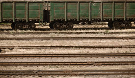 Industrial railroad and infrastructure, cargo transportation, delivery and shipping concept, brown toned Stock Photography