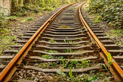 Industrial railway track in daytime Royalty Free Stock Photography