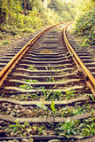 Industrial railway track in the daytime Stock Photos