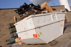 Industrial recycle skip with trash Stock Photos