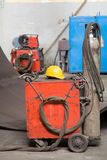 Industrial red mig welder. Used industrial red mig welder with gas tank royalty free stock image
