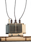 Industrial reduces power station. Power transformer on ceramic and porcelain insulators wire line Stock Image