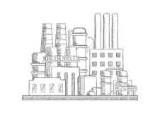 Industrial refinery factory vector sketch Royalty Free Stock Photography