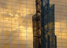 Industrial Reflection. Reflection of industrial structure on a corporate building stock images