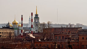 Industrial and Religious buildings in Tula, Russia. Unequal condition shows russian mentality Stock Photo