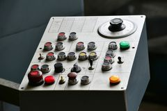 Industrial remote control of machinery with different buttons. Industrial remote control of machinery with different buttons Royalty Free Stock Photos