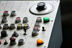 Industrial remote control of machinery with different buttons. Industrial remote control of machinery with different buttons Stock Photo