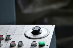 Industrial remote control of machinery with different buttons. Industrial remote control of machinery with different buttons Royalty Free Stock Image