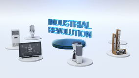`INDUSTRIAL REVOLUTION` connecting monitor, microwave, light bulb, washer, smart Home Appliances, Internet of things.
