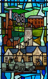 Industrial revolution in stained glass Stock Image