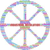 Industrial Revolution Word Cloud Text Illustration in shape of a Cartwheel. Industrial Revolution keyword tags vector. Transparent stock illustration