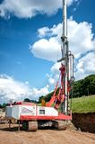 Industrial rig on construction site, drilling holes Stock Photography