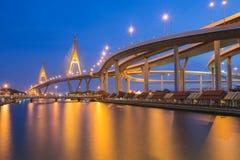 Industrial Ring Bridge across river Royalty Free Stock Image