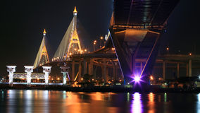 Industrial Ring Bridge, aka King Bhumibol, across Chao Phraya River Stock Photography