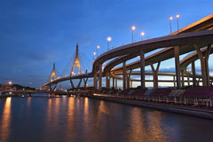 Industrial Ring Road Bridge (Bhumibol Bridge) , Bangkok , Thaila Royalty Free Stock Images