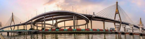 Industrial Ring Road Bridge Bhumibol suspension Bridge Stock Photos