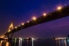 Industrial Ring Road Bridge at night Royalty Free Stock Photo
